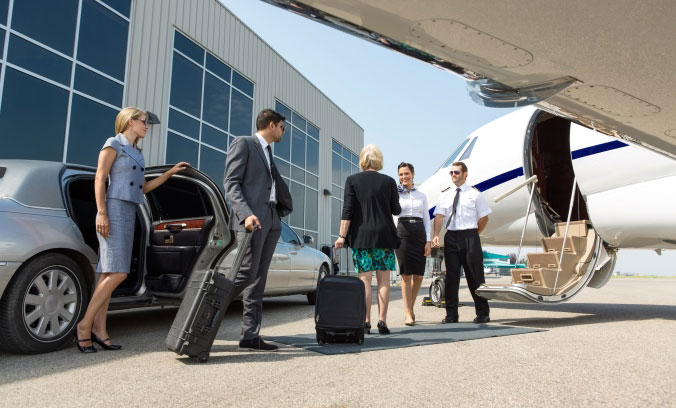 passengers boarding their private jet